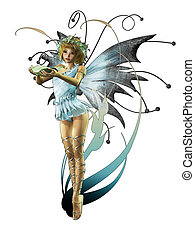 Little Pixie - A charming fairy with wreath and wings