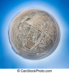 aerial view of the cold lake oil base ruins site, spherical panorama of an abandoned town, haixi prefecture, qinghai province, China