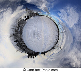 Little planet panorama of remote house in Swedish Lapland in winter