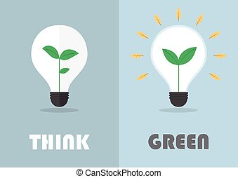 Little plant inside a light bulb, Green eco energy concept