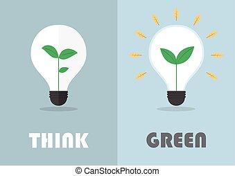 Little plant inside a light bulb, Green eco energy concept