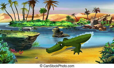 Little Playful Crocodile Hunts Butterfly on a River Bank....
