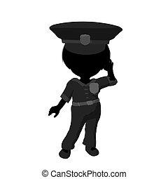 Little Police Girl Illustration Silhouette - Little police...