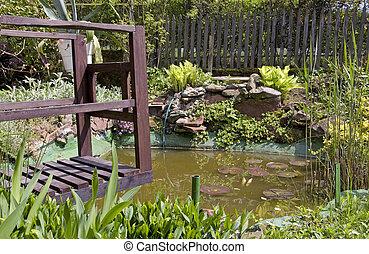 Little pond in a garden