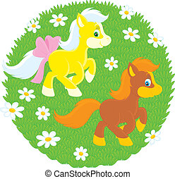 Little Ponies - couple of ponies galloping at full speed on...