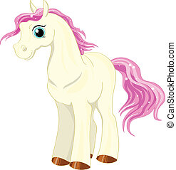 little Pony - little white pony with a pink pony mane and...