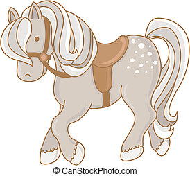 Vector illustration of a dappled gray pony wearing a saddle and bridle.