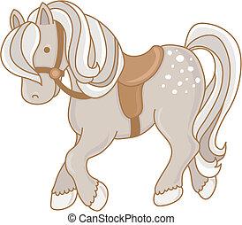 Little Pony - Vector illustration of a dappled gray pony ...