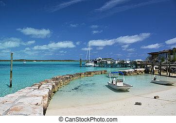 Little port at Exuma Cays. Bahamas