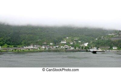 Little port in village Hellesylt, time lapse