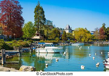 Little port on Geneva Lake in Lausanne city