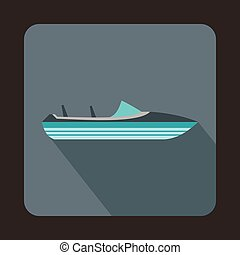Little powerboat icon, flat style