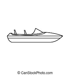 Little powerboat icon, outline style