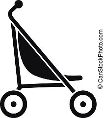 Little pram icon, simple style