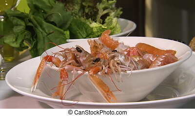 Little prawns to be cooked - A steady shot of prawn on a...