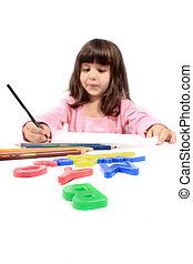 Little preschooler drawing or writing - Cute little...