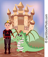 Little prince and dragon, vector