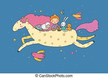 Little Prince. Cute cartoon boy in a crown flies on a pony.