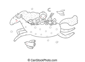 Little Prince. Cute cartoon boy in a crown flies on a pony. Cheerful hare, sheep and chicken