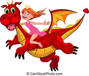 Little princess and red dragon