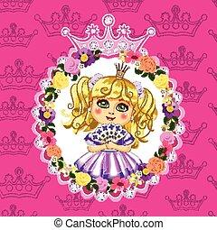 Little princess, blonde, on a pink background