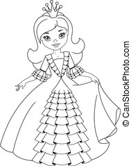 Clipart Vector Of Little Princess Coloring Page