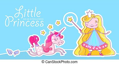 Little Princess Design Template with Fantastic Unicorn, Magic Wand, Crown, Blonde Hair and Stars. Vector illustration