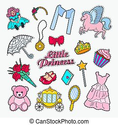 Little Princess Doodle. Set of Stickers, Badges and Patches with Unicorn, Crown and Cupcake. Vector illustration