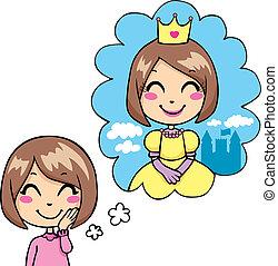 Little Princess Dream - Cute little girl cheerful dreaming...