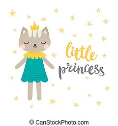 Little princess. Funny postcard for girl