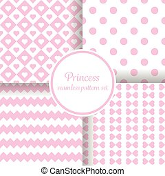 Little princess girl. Romantic pink theme with hearts and other shapes. Seamless vector pattern background set