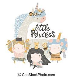 Little princess girls with magic unicorn on white background