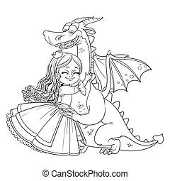 Little princess hugs dragon outlined picture for coloring book on white background
