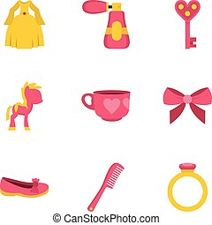 Little princess icon set, flat style
