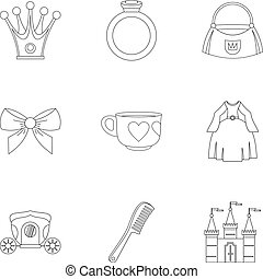 Little princess icon set, outline style