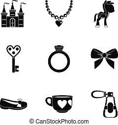 Little princess icon set, simple style