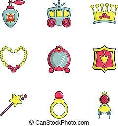 Little princess icons set, flat style