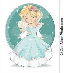 little princess in blue dress in star night