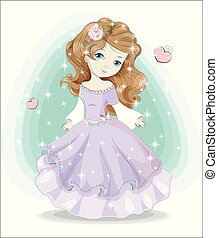 little princess in purple dress and crown