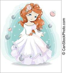 little princess in white wedding dress