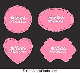 Little Princess Label Set Vector Illustration