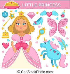 Little princess, magic unicorn or crystal shoes and golden royal crown vecor flat icons