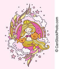 Little princess mermaid with long golden hair. Siren, surrounded by pink seaweed, clouds and starfish, fish.
