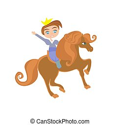 Little princess on horse, funny isolated illustration