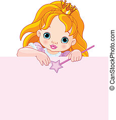 Little princess over blank sign