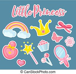 Little princess set of modern fashionable stickers, patches badges. Cute, pink accessories collection with mirror, perfume, rainbow, flowers, crown, magic wand. Vector illustration.