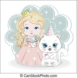 little princess with gift and cat