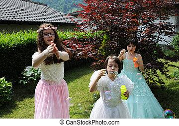 little princesses in the garden