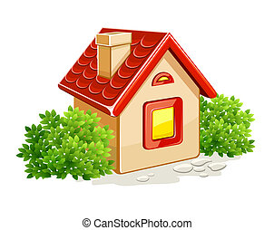 little private house in green bushes illustration, isolated on white background