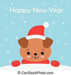 Little Puppy card. Young Funny Dog. Cute brown playful puppy in hat as Santa Claus. Clipart vector illustration.